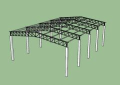 COMERCIAL WAREHOUSE STEEL STRUCTURE-SKETCHUP-3D