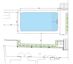 Swimming pool and terrace area design dwg