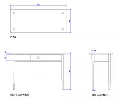 Single drawer desk DWG