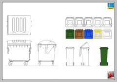 GARBAGE, RECYCLE BIN, CAN -AUTOCAD-2D