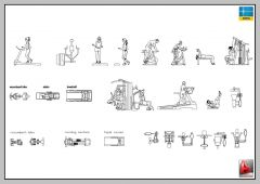 LARGE LIBRARY OF GYM EQUIPMENT, MACHINES AUTOCAD-2D