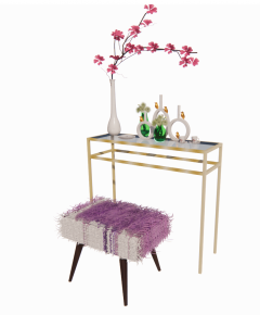 Steel table ( top table glass) with pink chair and birds revit family