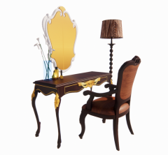 Neo wooden classic table and chair with floor lamp and mirror revit family