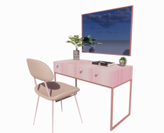 Wooden table with rectangle mirror revit family