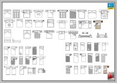 LARGE LIBRARY OF BEDS, FURNITURE-AUTOCAD-2D