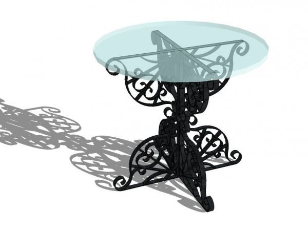 Wrought Iron Table with Glass top sketchup model