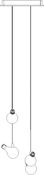 1000mm Length Bulb Concept Chandelier Front Elevation dwg Drawing