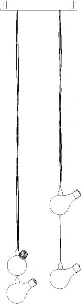1000mm Length Bulb Concept Chandelier Left Side Elevation dwg Drawing