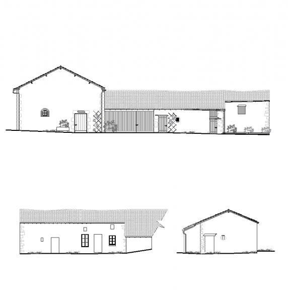 French barn elevations CAD drawing