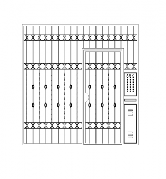 Security entrance gate with intercom dwg