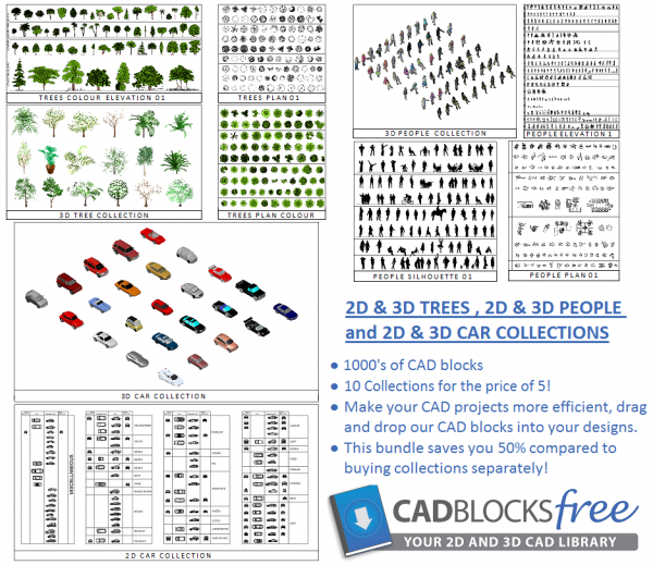 2D & 3D trees  people and car bundle