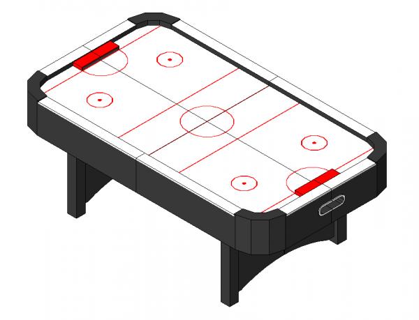 Air Hockey Table revit model and dwg block