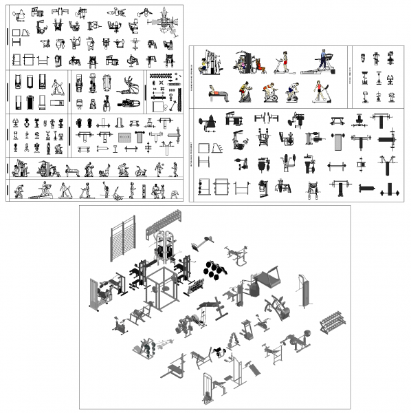2D and 3D Gym Collections DWG blocks