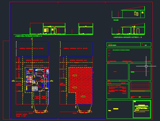 Architekturentwurf mit schematischem Schnitt