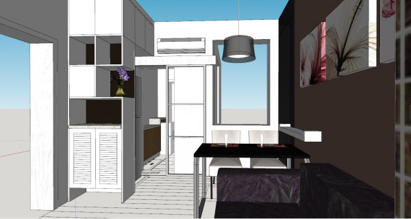 Dining room and living room design skp