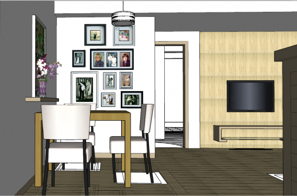 Dining room design with small living room skp