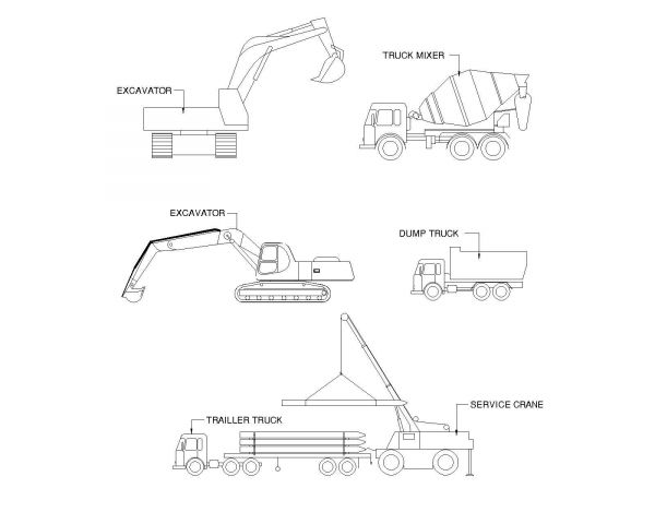 Bagger & Fahrzeugsymbole .dwg