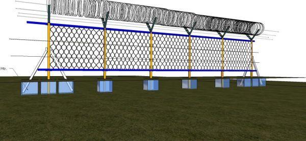 3 D Esgrima con eslabón de cadena y alambre de púas utilizando secciones huecas cuadradas.