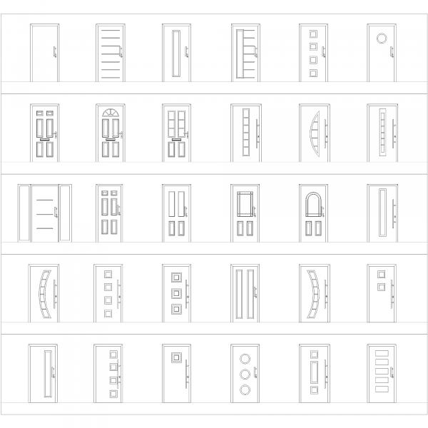 Portas de Entrada Frontas CAD collection dwg