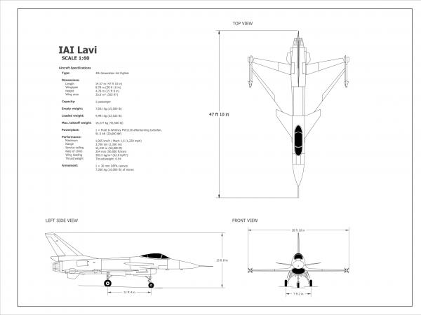 2D IAI Lavi Jet (Scale 1:60)