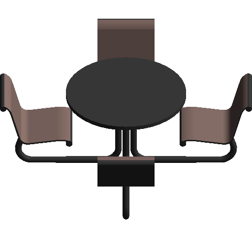 Steel public tables and chairs revit family