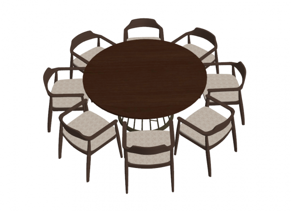 Wooden circle table with 8 chairs sketchup