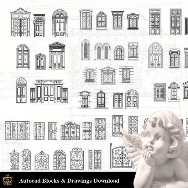 建築装飾要素CADブロックバンドルV.6-DoorおよびWindows