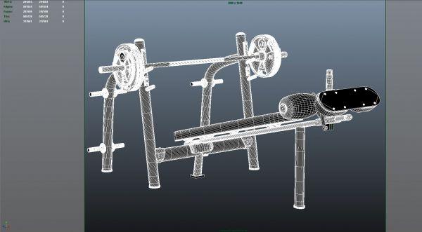 Gimnasio modelos 3D en formatos 3ds max y FBX
