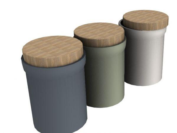 combination of three jars 3d model .3dm format