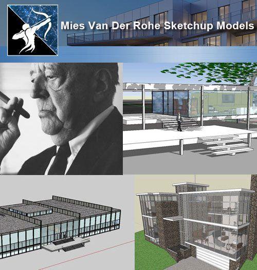 17 Projekte von Mies Van Der Rohe Architecture Sketchup 3D-Modelle