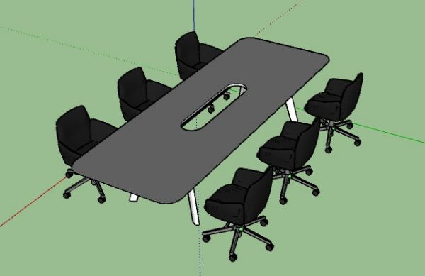 Simple medium sized meeting table with comfortable chairs 3d model .skp format