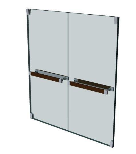 double door partial glass office door 3d model .3dm format