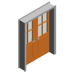 Swing door-wooden double-leaf inlaid glass door revit family