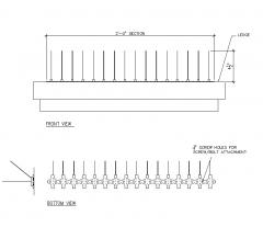 Aves El control de Spike - Acero Inoxidable - CAD bloque de 3 pulgadas