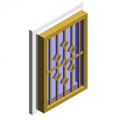 Casement window (inner casement and lower hanging window) revit family