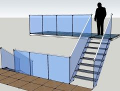 Glass Staircase & Balcony Sketchup model