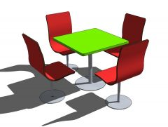 La comida rápida mesas del restaurante bloque 2 SketchUp
