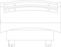 1000mm Wide Ward Bed with 60mm Thick Cushion Rear Elevation dwg Drawing