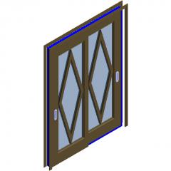 Rhombic frame sliding door revit family