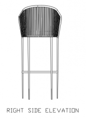 1012mm Height Bar Stool Rattan Made with 60mm Cotton Right Elevation dwg Drawing