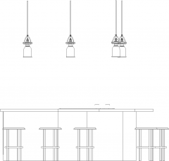 1022mm Height Bar Counter with Lights and Six Bar Stools Front Elevation dwg Drawing