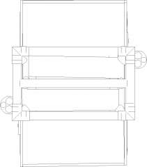1024mm Width Spherical Mirrors with Shelf Plan dwg Drawing