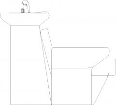 1044mm Width Triple Portable Hair Salon Wash Basin Left Elevation dwg Drawing