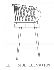 1045mm Height Rattan Made Stool Left Side Elevation dwg Drawing