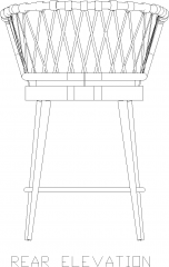 1045mm Height Rattan Made Stool Rear Elevation dwg Drawing