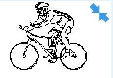 Bike and cyclist in elevation view dwg model