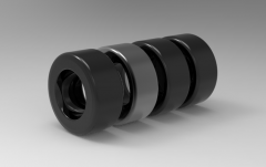 Autodesk Inventor ipt file 3D CAD Model of cylindrical steel rim,with Lifttruck tyre, wheel  D = 200, bore = 100Load  capacity 1050