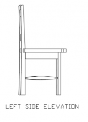 1100mm Height Wooden Dining Chair Left Side Elevation dwg Drawing