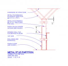 Metal stud partition detail