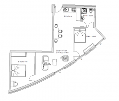 Two bed apartment design plan